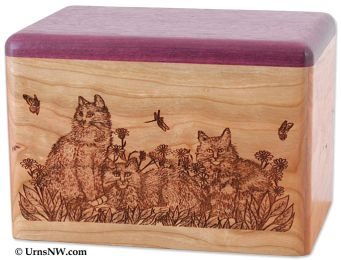 Cherry & Purple Heart Urn Cats Pet Urn