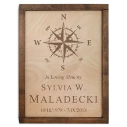 Compass Rose Wall Mounted Wood Cremation Urn Plaque