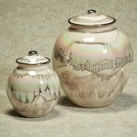Desert Sand Ceramic Glaze Urn With 22 K Gold Trim 64 Cu. In