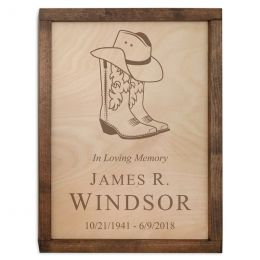 The Cowboy Boots Wall Mounted Wood Cremation Urn Plaque