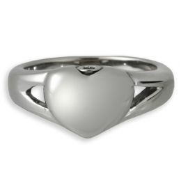Elegant Heart Cremation Ring  Stainless Steel