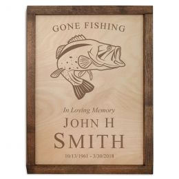 Fishing Wall Mounted Wood Cremation Urn Plaque