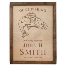 Gone Fishing Wall Mounted Wood Cremation Urn Plaque