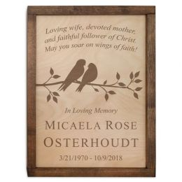 Cute Birds On Branch Wall Mounted Cremation Urn Plaque