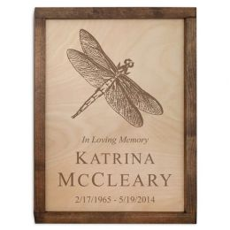 Dragonfly Wall Mounted Cremation Wood Urn Plaque