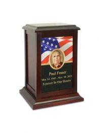 American Flag Wood Urn 210 Cu. In.