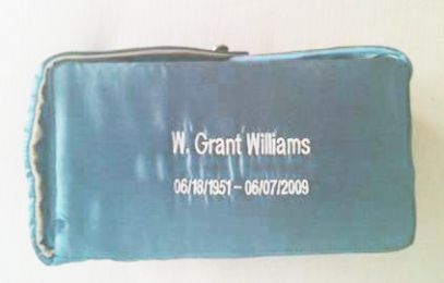 Light Blue Fabric Cremation Urn with Personalized Embroidery 220 Cu In