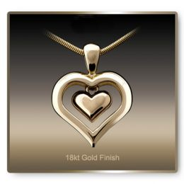 Eternity Heart Cremation Necklace 18 K Gold Pendant