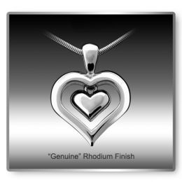 Eternity Heart Rhodium Finish Cremation Necklace