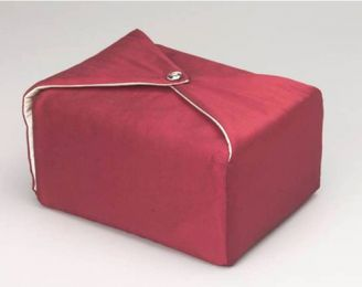 Silk Fabric Cremation Urn Maroon  TSA Approved)