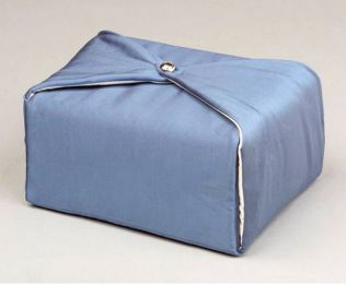 Steel Blue Silk Fabric Cremation Urn (TSA Approved) 220 Cu In