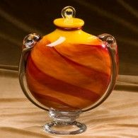 Fiery Sunset Glass Adult Cremation Urn 202 Cu In