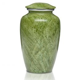 The Artisan Green Metal Cremation Urn in 200 & 3 Cu. In.