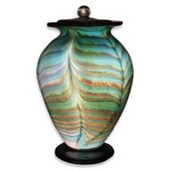Amato Aqua Hand Blown Glass Cremation Urn For Adults