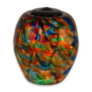 Hand Blown Glass Cremation Urn for Adults in Classic Autumn