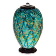 Hand Blown Glass Cremation Urn for Adults in Deco Aegean