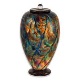 Hand Blown Glass Cremation Urn for Adults in Deco Evening