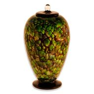 Hand Blown Glass Cremation Urn for Adults in Amato Forest