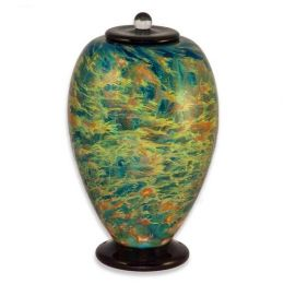 Hand Blown Glass Cremation Urn for Adults in Deco Sky