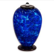 Hand Blown Glass Cremation Urn for Adults in Deco Water