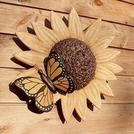 Sunflower And Butterfly Ceramic Urn-Wall Mounted