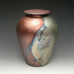 Handmade Simple Blue Raku  Ceramic Cremation Urn
