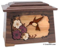 Hummingbird Wood Inlay Large Adult Cremation Urn