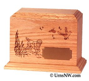 Hunting Dog Wood Pet Cremation Urn  52 CU. IN.