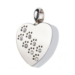 Jeweled Paw Prints Heart Pet Cremation Necklace Stainless Steel