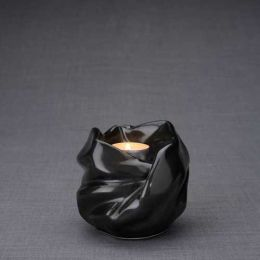 Luminous Tealight Candle Cermaic Keepsake Urn in Gloss Black 29 Cu. In.