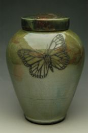 Monarch Butterfly Raku Ceramic Cremation Urn 3 Sizes