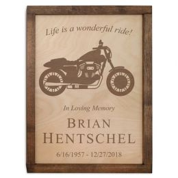 Motorcycle Wall Mounted /Wood Cremation Urn Plaque
