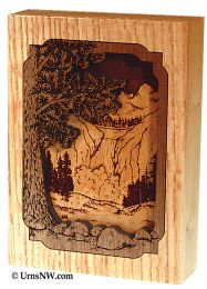 Waterfall  Dimensional Wood Art Keepsake 1 Cu. In.